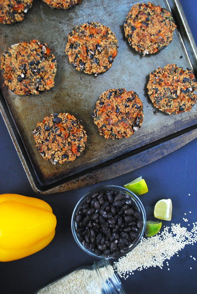 Easy baked black bean quinoa burgers that are filled with plant protein and perfect for end-of-the-summer cookouts!