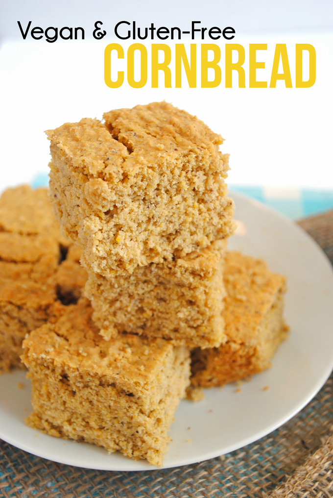 This healthy cornbread is vegan, gluten-free, & perfect as a side dish for your next dinner party. No refined flour, butter, or sugar!