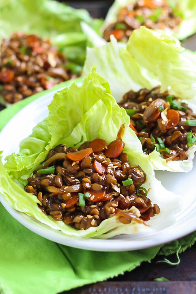 A protein-packed dinner that's ready in 30 minutes, these Teriyaki Tempeh Lettuce Wraps are a delicious light recipe that won't weigh you down!