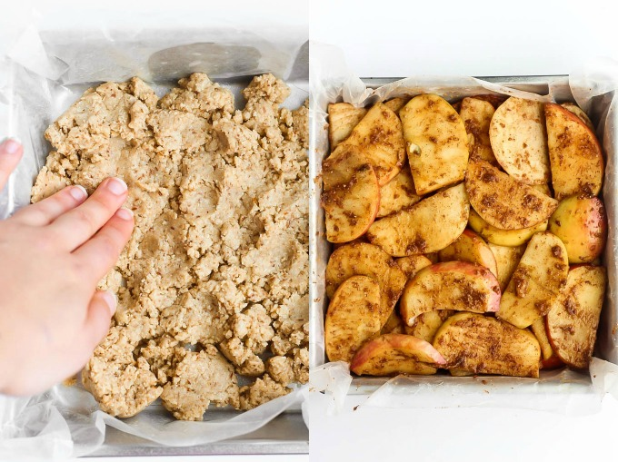 a hand presses a gluten free pie crust into a dish next to a baking pan full of spiced apples