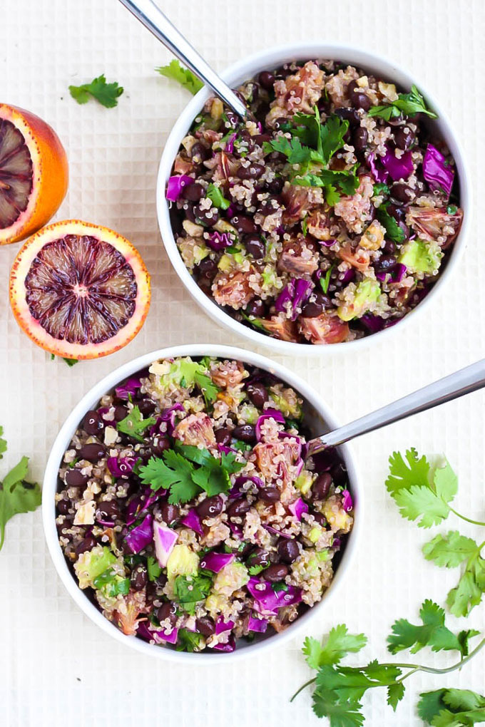 Full of juicy blood oranges, protein-packed quinoa & black beans, & tons of veggies, this Blood Orange Quinoa Salad is perfect for a light dinner or lunch!