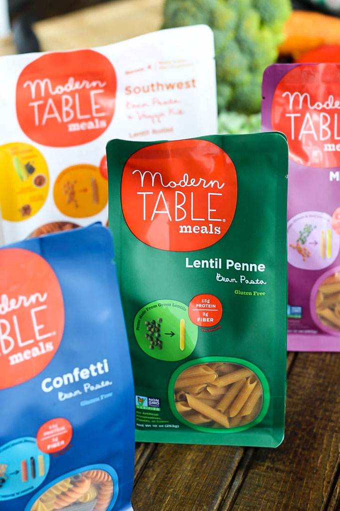 A collection of Modern Table Meals legume pastas