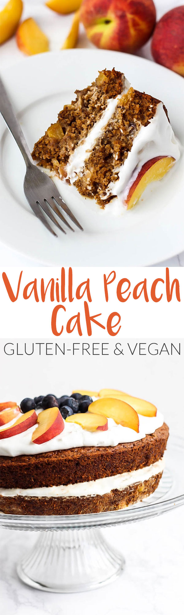 Full of juicy peaches, this Vegan & Gluten-Free Vanilla Peach Cake is a great healthier dessert made with grain-free ingredients you can feel good about.