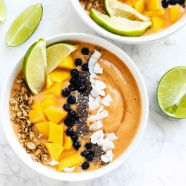 Fruity & sweet with a twist, this Mango Lime Smoothie Bowl is a great breakfast full of nutrition to keep you fueled during your day. Vegan & gluten-free!