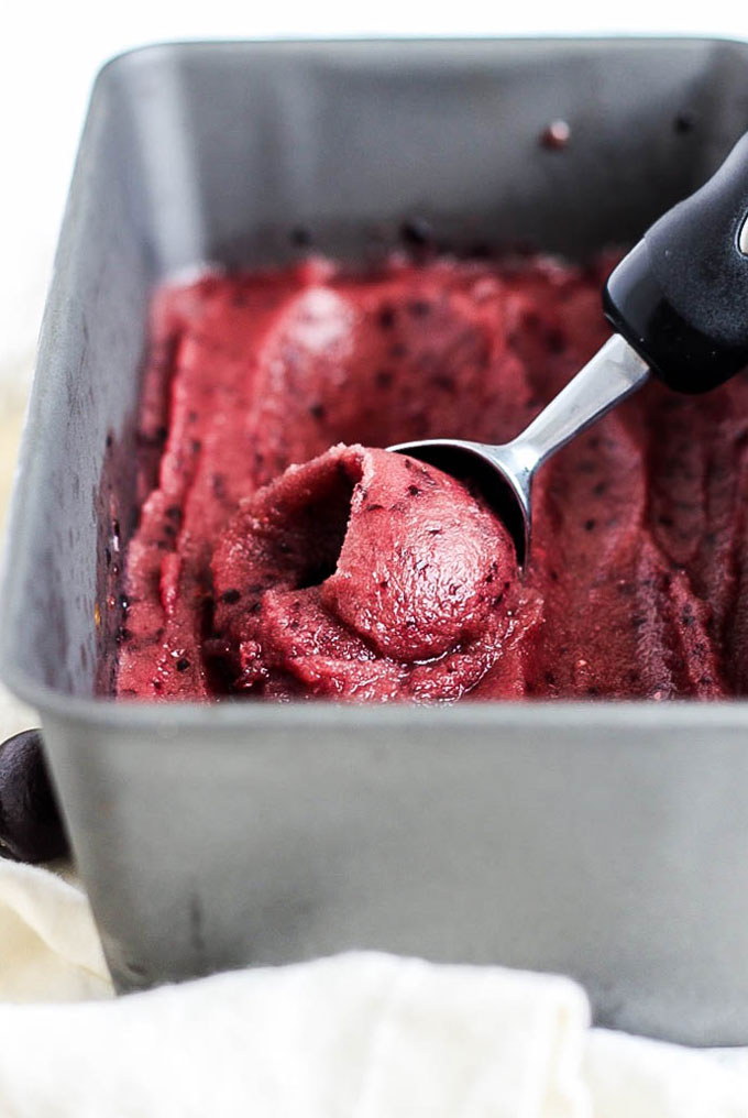 You only need three simple ingredients for this healthy & refreshing Cherry Watermelon Sorbet. A delicious, fruity treat that's vegan & gluten-free!