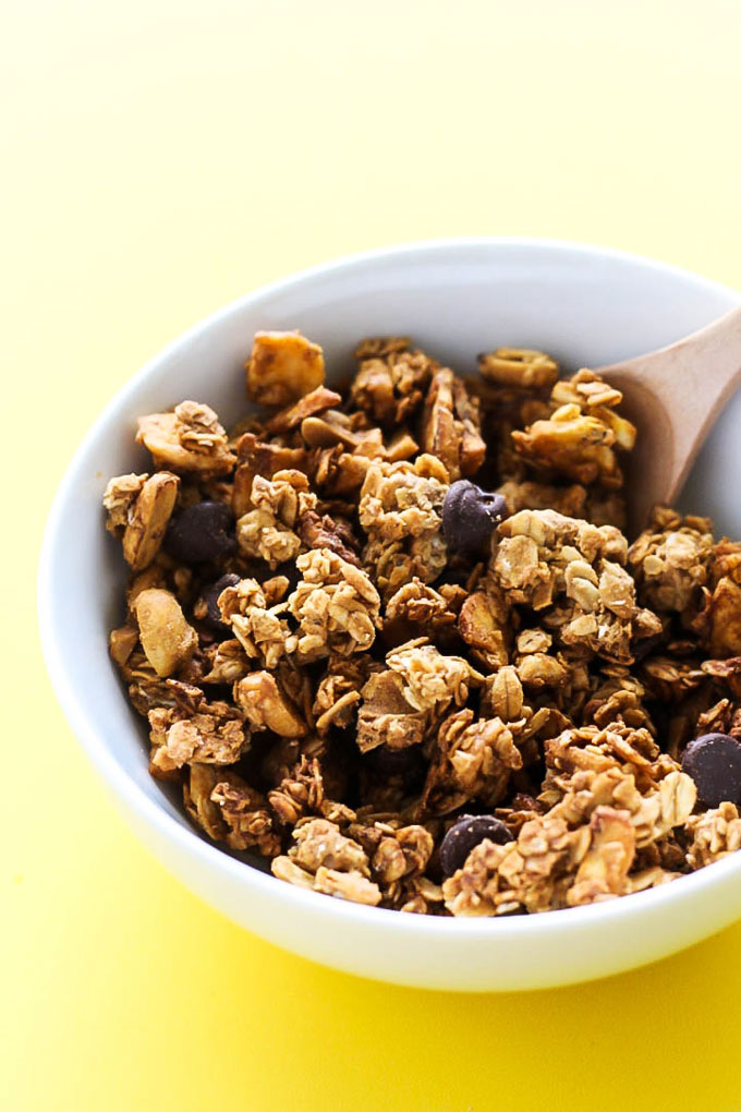 Peanut butter, banana & chocolate come together perfectly in this oil-free Chunky Monkey Granola! It's a healthy, sweet snack or breakfast to fuel your day.