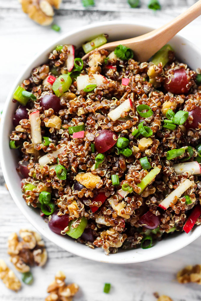 Serve this Curried Quinoa Salad as a flavorful side dish full of crunchy walnuts, juicy grapes and a curry dressing. Leftovers make a great light lunch!