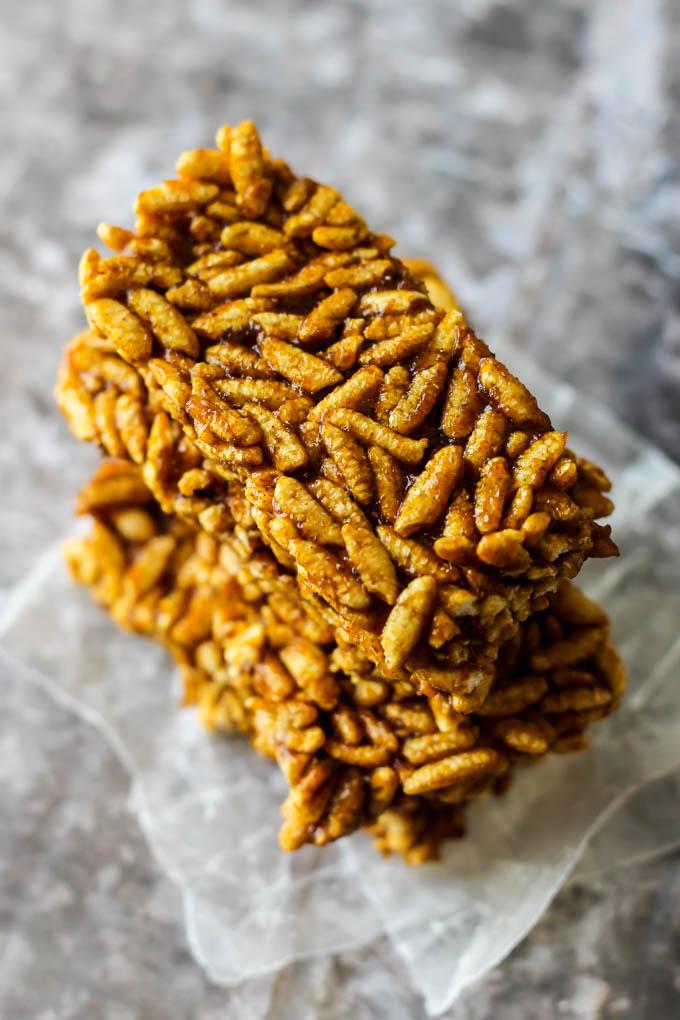 a stack of pumpkin rice crispy treats