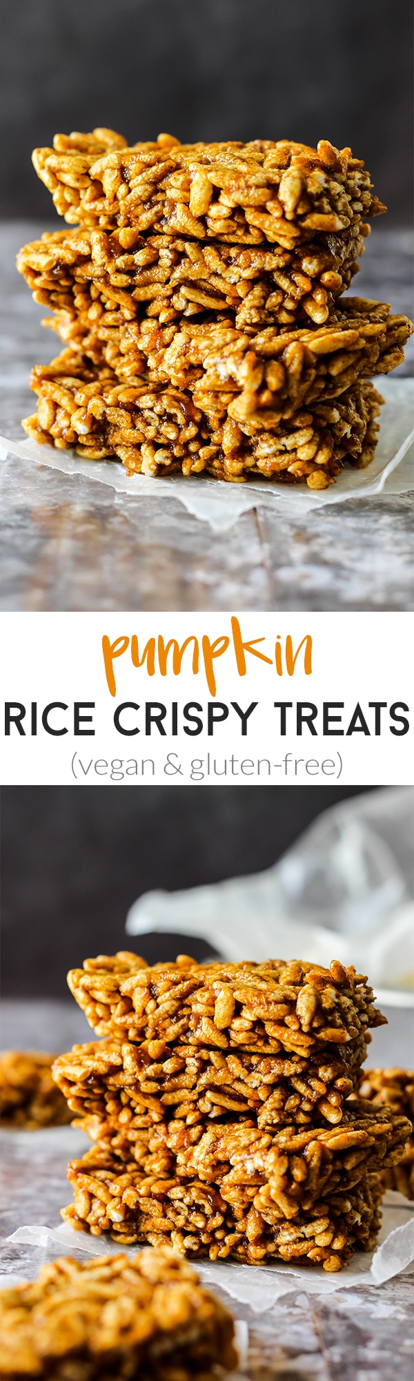 These easy Pumpkin Rice Crispy Treats are just like the ones you loved, with a fall twist! They're vegan, gluten-free, and made with wholesome ingredients.