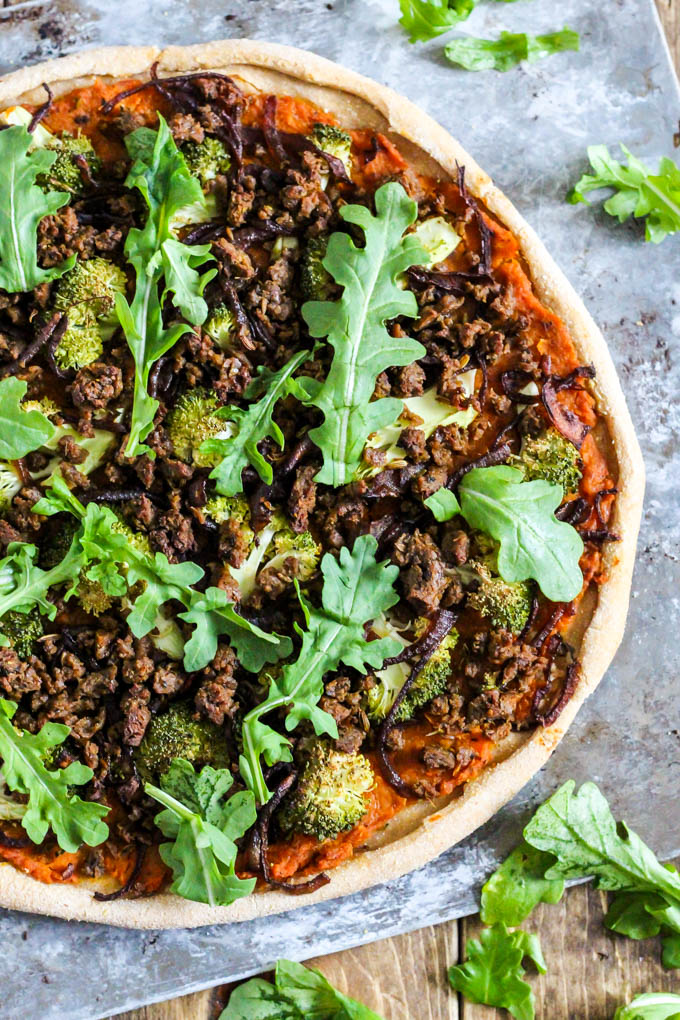 Put a twist on pizza night by making this Hearty Vegan Butternut Squash Pizza loaded with vegetables! It is full of plant protein, flavorful & whole wheat.