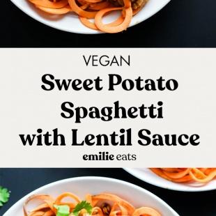 vertical image sweet potato spaghetti