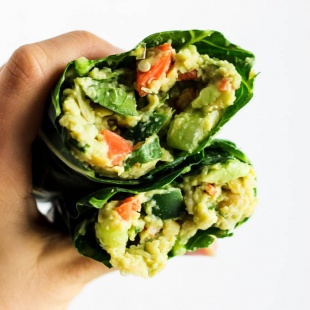 These Avocado Chickpea Salad Collard Wraps are perfect to pack for on-the-go! They're packed with fiber, protein & greens for a healthy lunch or dinner. Vegan & gluten-free!