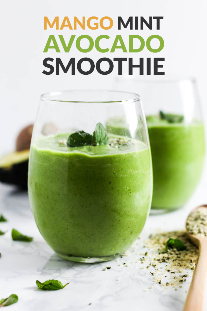This Mango Mint Avocado Smoothie is a perfect refreshing drink to enjoy for breakfast or a snack. Naturally sweet from mango & satisfying thanks to avocado!
