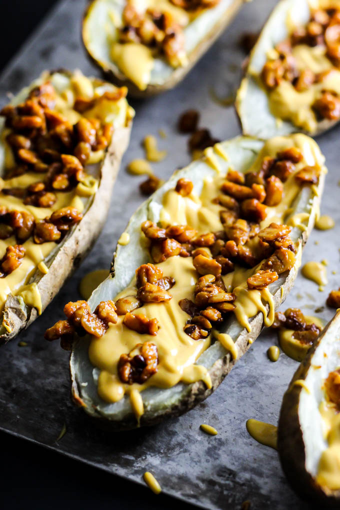 A delicious, vegan version of your favorite appetizer! Serve these Baked Potato Skins at your Superbowl party or any gathering to impress all your guests. Gluten-free & made with whole, plant foods.