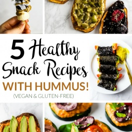 Take snacking to the next level with 5 healthy snack recipes made with hummus! From sweet to savory, these vegan & gluten-free recipes are sure to satisfy.