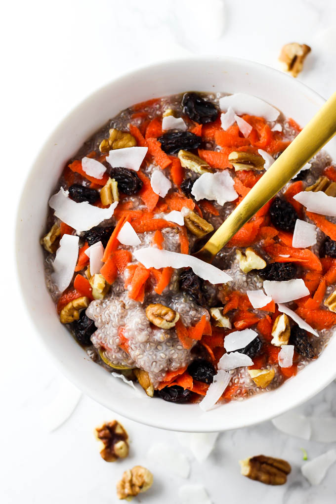 Cake for breakfast? Of course! This Carrot Cake Chia Pudding is a decadent, healthy breakfast that will keep you satisfied all morning. Vegan & gluten-free!