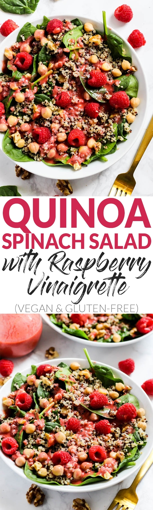 Enjoy the fresh flavors of the season with this fruity Quinoa Spinach Salad with Raspberry Vinaigrette! Serve it as a side or a meal. Vegan & gluten-free!