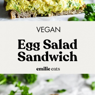 Pack a Vegan Egg Salad Sandwich for your lunch for a flavorful, simple meal! This plant-based version of the classic is even more delicious & nutritious. It's made with House Foods tofu to celebrate National Soyfoods Month! #sandwich #lunch #prep #easylunch #eggsalad #packed #healthy #vegetarian #dairyfree