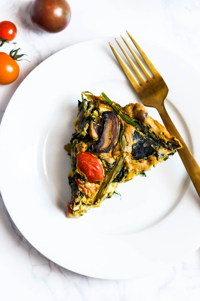 This Asparagus & Mushroom Vegan Quiche is a delicious option for breakfast or brunch! It's full of vegetables and plant protein to keep you satisfied.