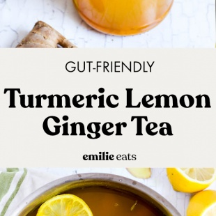 yellow tea made with turmeric, lemon, and ginger