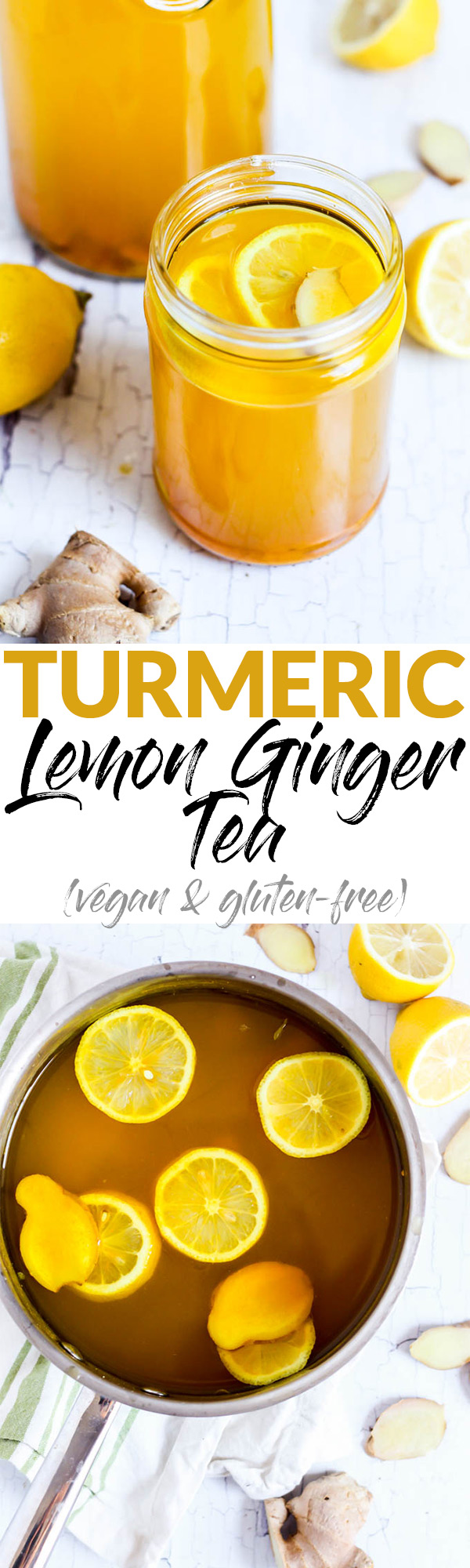 Amp up your morning routine with this warm, nourishing Turmeric Lemon Ginger Tea! It's full of antioxidants and vitamin C to start your day feeling great.