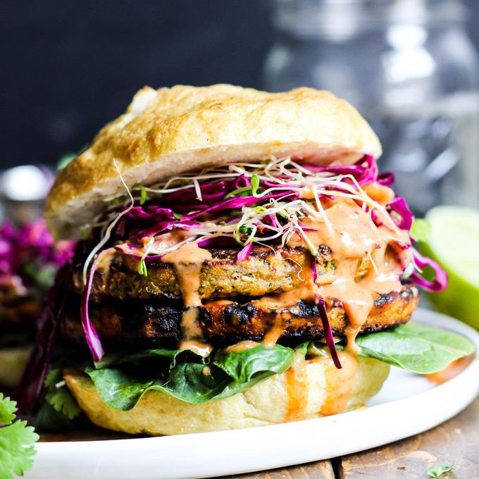 Asian Veggie Burgers With Mango Cabbage Slaw Emilie Eats