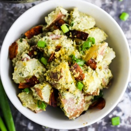 This creamy Vegan Bacon Ranch Potato Salad is a great side dish for any cookout, picnic, or dinner party. It's dairy-free & made with wholesome ingredients!