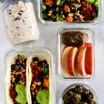 You only need a little time & a handful of ingredients for these 4 vegan meal prep recipes! Prepare them early to have a day's worth of meals ready to go.
