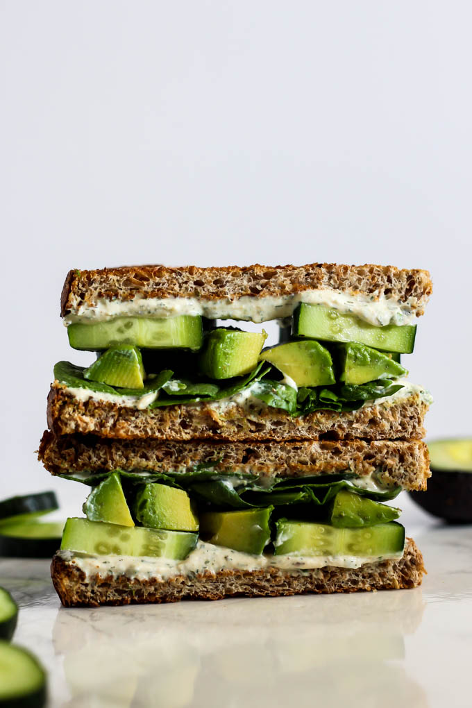Creamy, hearty, savory...this Cool Cucumber Avocado Sandwich with Tofu Cream Cheese has it all! It's an easy, tasty lunch to pack for kids or adults. Vegan!
