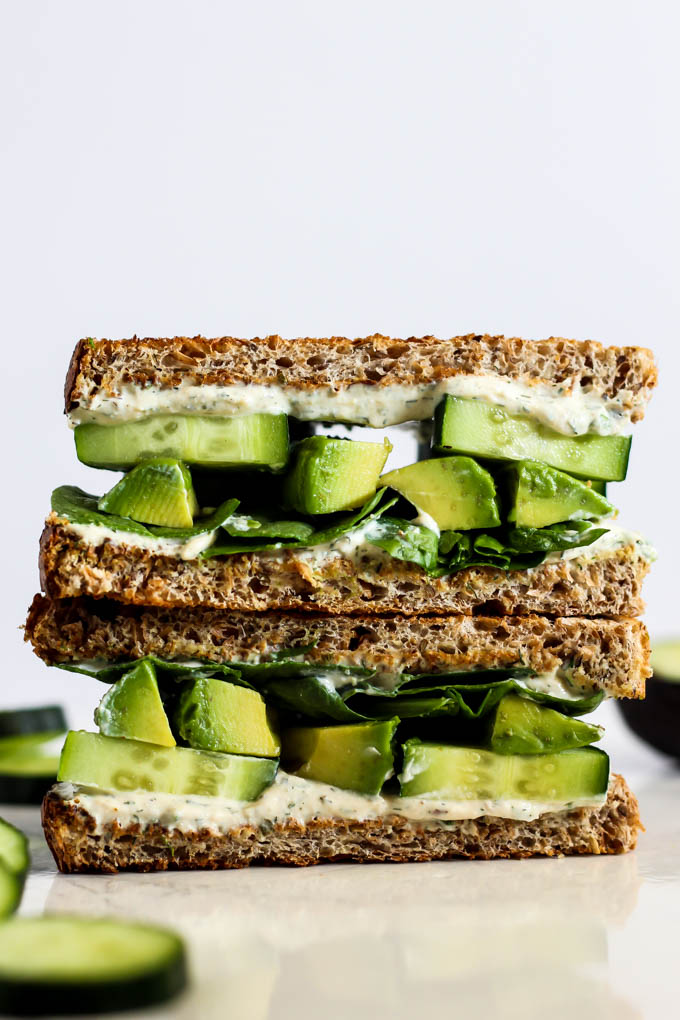 Cool Cucumber Avocado Sandwich With Tofu Cream Cheese Emilie Eats