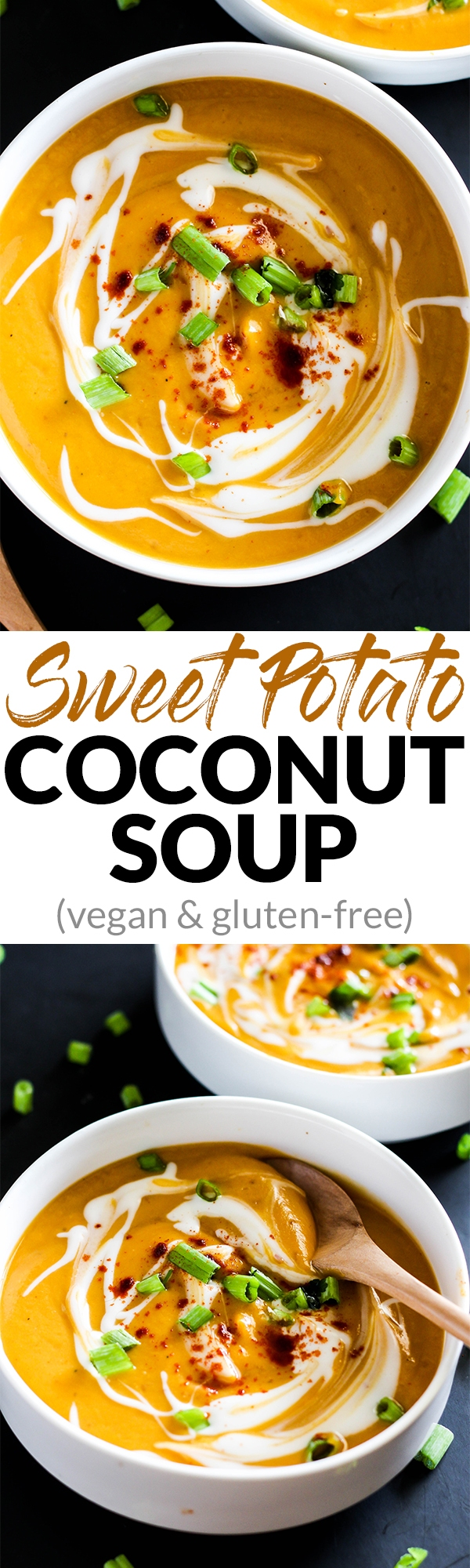 Cozy up with a bowl of this Sweet Potato Coconut Soup during the colder months! It's the perfect vegan & gluten-free side dish for any dinner table.