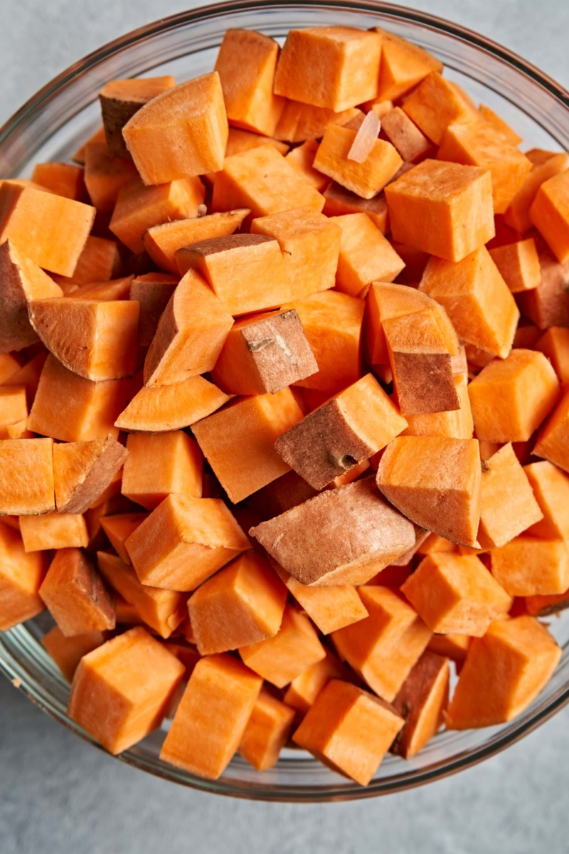 a bowl of cubed sweet potato