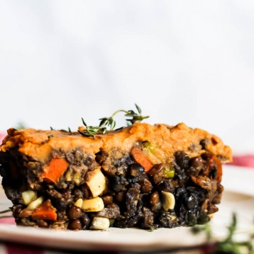 Say hello to your new favorite comfort food recipe: Vegan Sweet Potato Shepherd's Pie! Filled with lentils, vegetables & sweet potatoes for a hearty dinner. (gluten-free)
