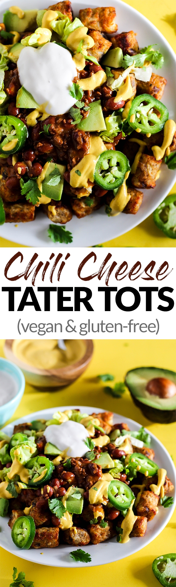 Serve up a plate of these Loaded Vegan Chili Cheese Tots as a delicious appetizer perfect for sharing! Full of bean chili, dairy-free cheese, and veggies.
