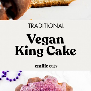 Even if you don't live in the south, you can still enjoy the flavors of Mardi Gras with this traditional Vegan King Cake recipe! It's fluffy with a cinnamon raisin filling and a sugary glaze that will satisfy everyone. #vegan #cake #vegancake #dessert #mardigras #southern #dessert
