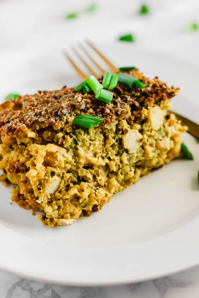Cheesy Chickpea Quinoa Broccoli Casserole Vegan Gluten Free