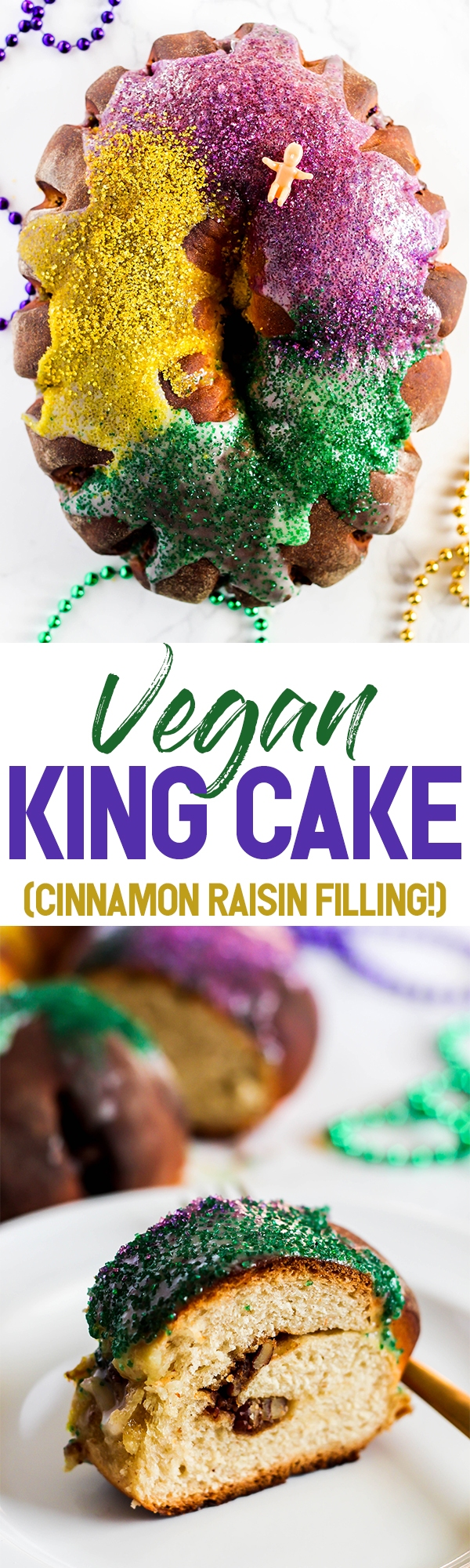 Even if you don't live in the south, you can still enjoy the flavors of Mardi Gras with this traditional Vegan King Cake recipe! It's fluffy with a cinnamon raisin filling and a sugary glaze that will satisfy everyone.