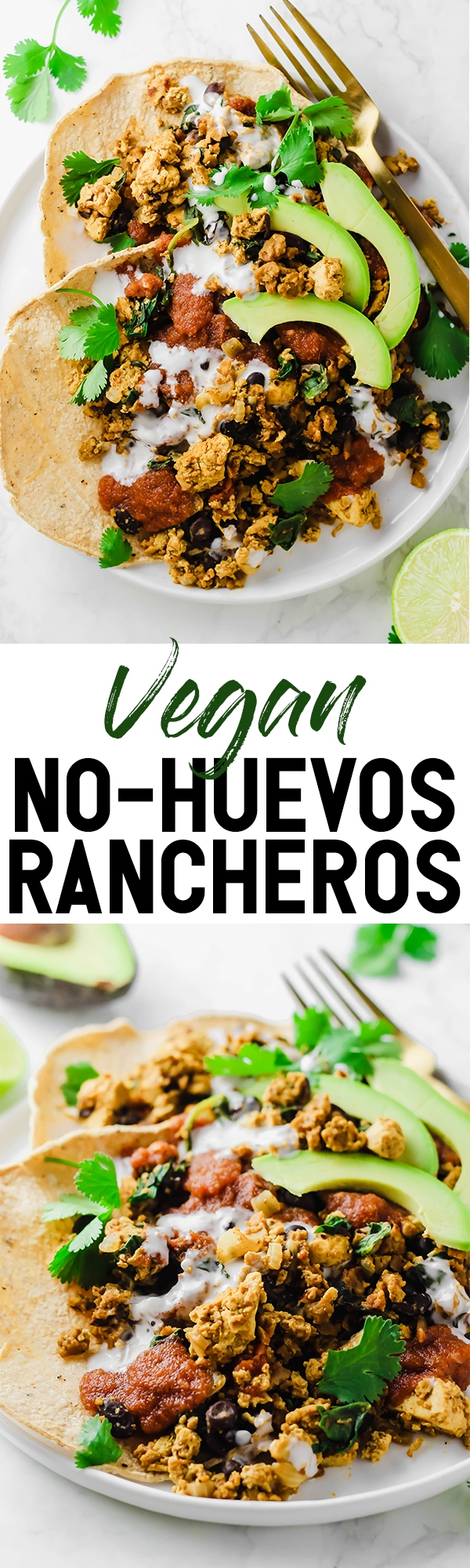 This protein-packed Vegan No-Huevos Rancheros dish is the perfect savory meal to serve for brunch, lunch, or dinner! Top with zesty ranchero sauce and tangy dairy-free sour cream for the ultimate plate.
