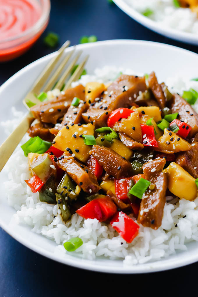 Sweet, savory, tangy... this Vegetable Mango Stir Fry does it all! Protein-rich seitan and fresh vegetables are coated in a homemade teriyaki sauce and served over rice. Move over, take-out! (vegan)