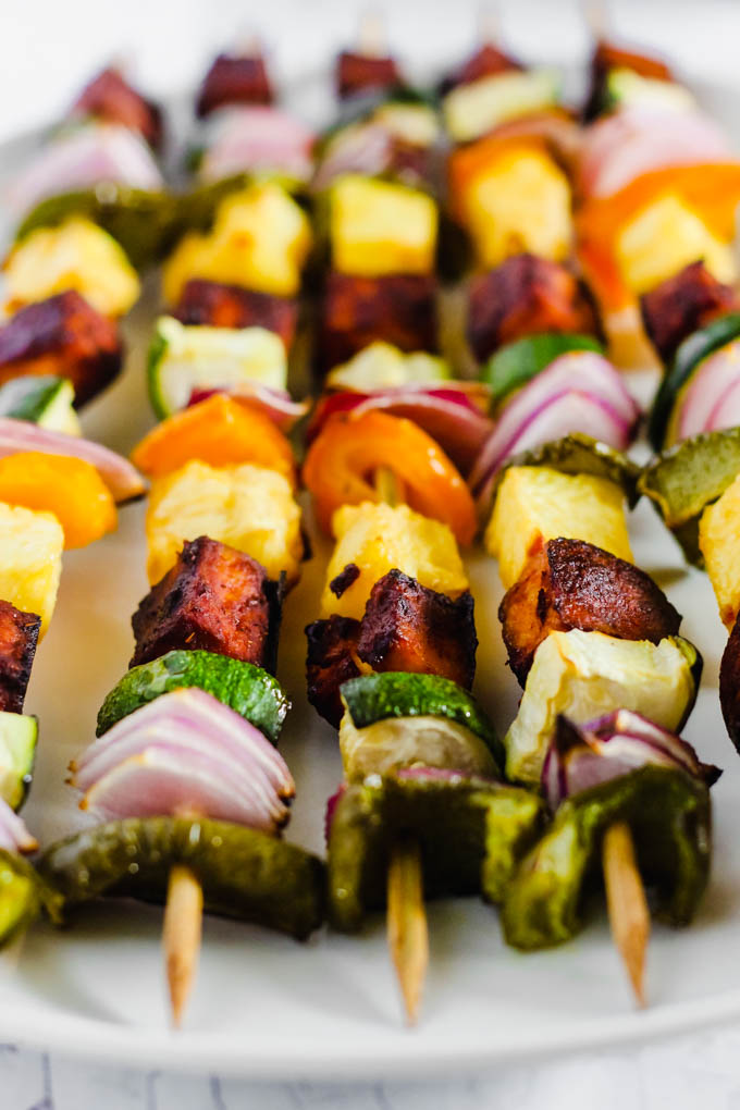Celebrate summertime with these colorful BBQ Tofu Vegetable Kebabs! Fire up the grill or bake them in the oven using any vegetables you have in the fridge. (vegan & gluten-free)