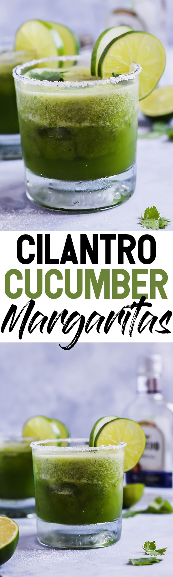 These Cilantro Cucumber Margaritas are a cool, refreshing twist on this classic cocktail! The cucumber is blended in for ultimate flavor. These pair perfectly with chips & salsa!