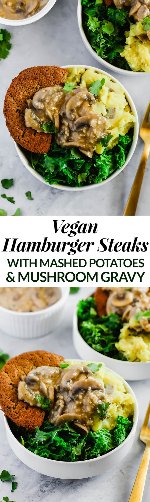 These Vegan Hamburger Steaks make a savory meatless dinner that everyone at the table will love. Serve them with mashed potatoes & mushroom gravy to take them to the next level!