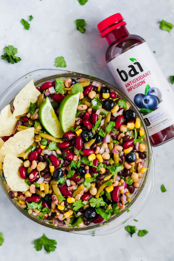 This Blueberry Five Bean Salad makes a light, healthy lunch or crowd-pleasing appetizer when served with chips! It's full of fiber, plant-based protein and has a flavorful antioxidant-infused berry dressing.