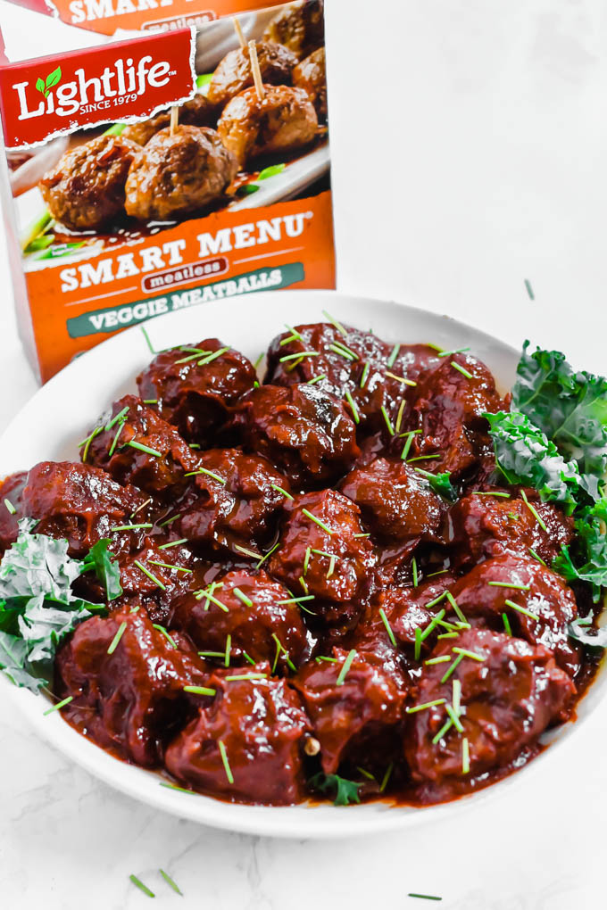 Serve these Slow Cooker Sweet BBQ Meatballs at your next party and watch them disappear! Everyone will love these plant-based meatballs smothered in a homemade BBQ sauce sweetened with maple syrup.