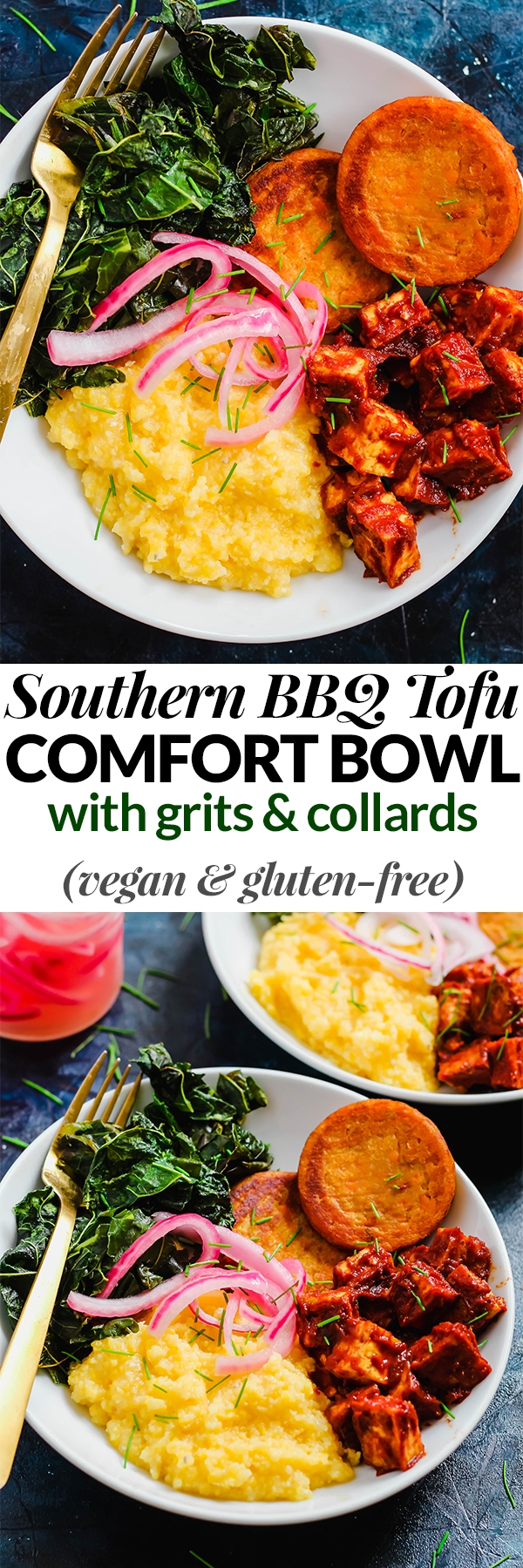 This Southern BBQ Tofu Comfort Bowl with Grits & Collard Greens will you give warm, cozy feelings and leave you feeling satisfied. This vegan, gluten-free version of a Southern comfort meal features hearty tofu, sweet potato hash browns, cheesy grits, and greens!