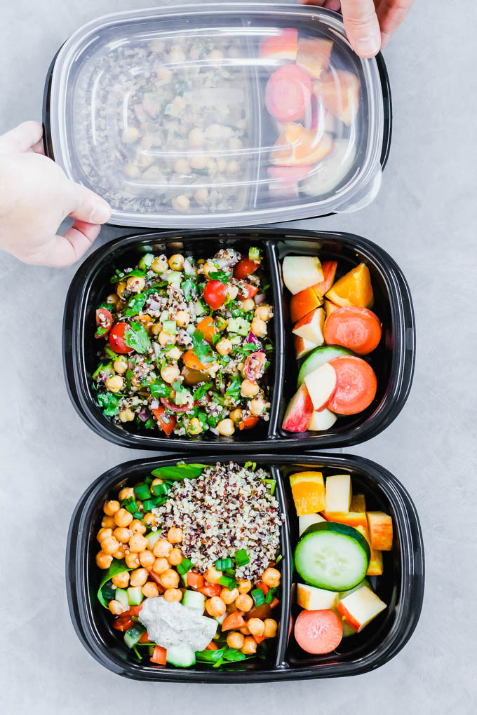 Use the same three ingredients (chickpeas, quinoa and spinach) to cook three different vegan meal prep recipes for the week! These healthy meals are wholesome, balanced and full of fresh ingredients.