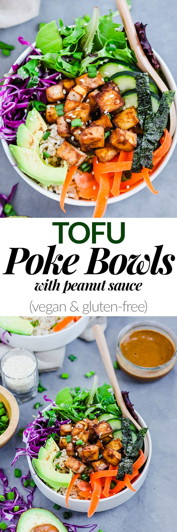 Throw together this Vegan Poke Bowl for adelicious, wholesome meal done in under an hour! It's full of savory tofu, crunchy vegetables and creamy peanut sauce. Great for meal prep! (gluten-free)