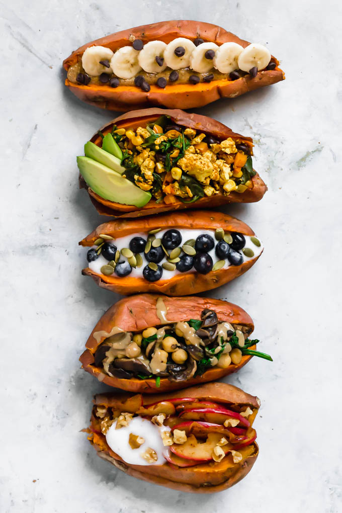 Stuffed Breakfast Sweet Potatoes 5 Ways Emilie Eats
