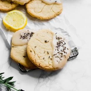vegan lavender lemon cookies with a lemon glaze