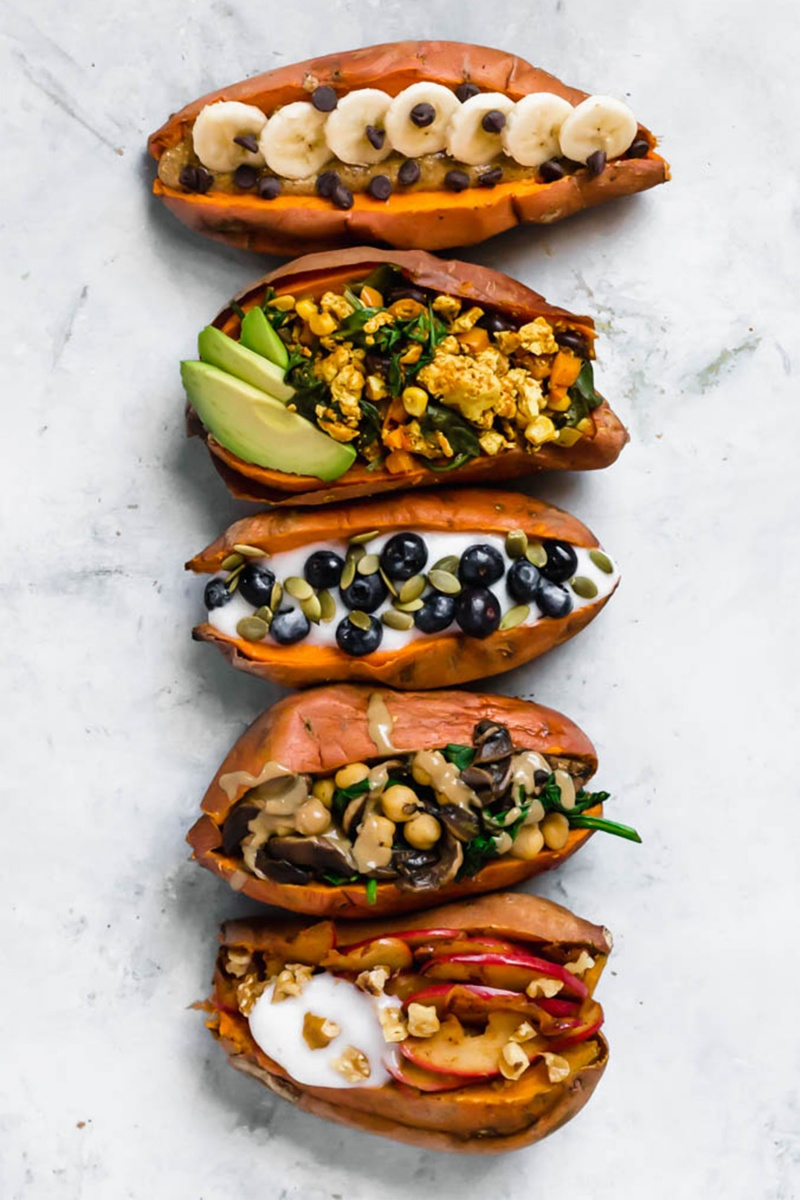 Stuffed Breakfast Sweet Potatoes 5 Ways